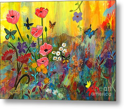 Pink Poppies In Paradise Metal Print by Robin Maria Pedrero