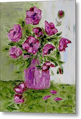 Pink Poppies In Pink Vase Metal Print