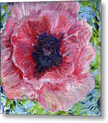 Pink Poppy 3 By 3 In Painting Metal Print