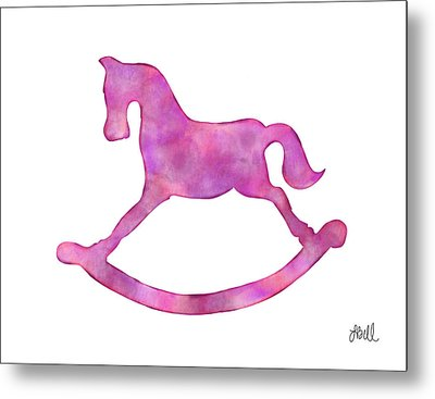 Pink Rocking Horse Metal Print by Laura Bell