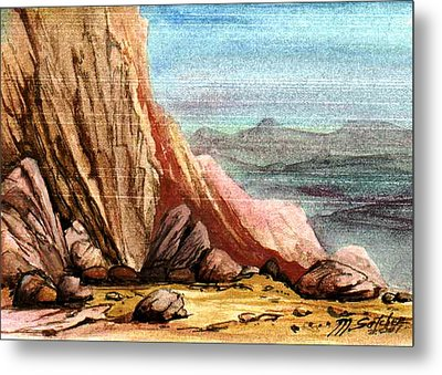 Metal Print featuring the painting Pink Rocks by Mikhail Savchenko