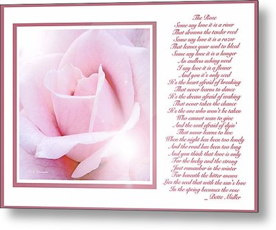 Pink Rose And Song Lyrics Metal Print by A Gurmankin