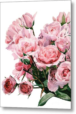 Pink Rose Bouquet Metal Print by Greta Corens