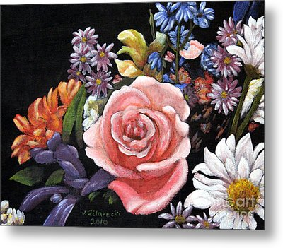 Metal Print featuring the painting Pink Rose Floral Painting by Judy Filarecki