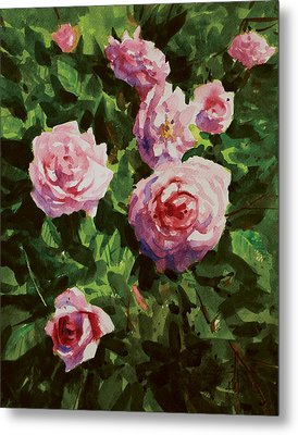 Metal Print featuring the painting Pink Rose by Helal Uddin