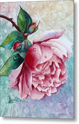 Pink Rose With Waterdrops Metal Print by Karen Mattson