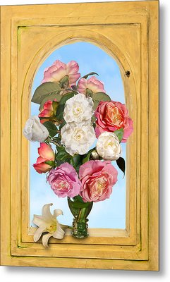 Pink Roses And White Peonis In Roemer In Open Niche Metal Print by Levin Rodriguez