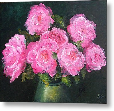 Pink Roses In A Brass Vase Metal Print by Jan Matson