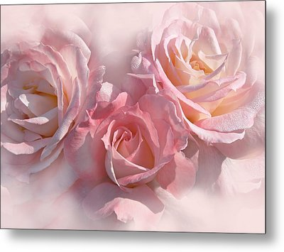Pink Roses In The Mist Metal Print by Jennie Marie Schell