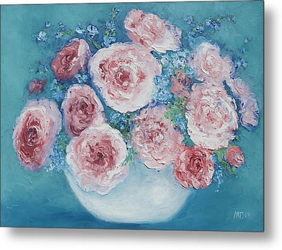 Pink Roses Metal Print by Jan Matson
