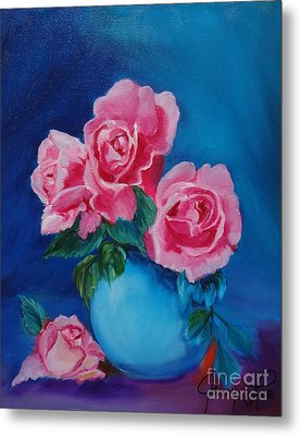 Pink Roses Metal Print by Jenny Lee