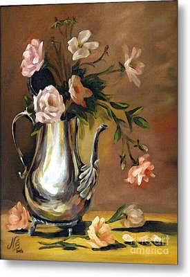 Pink Roses Metal Print by Nancy Bradley