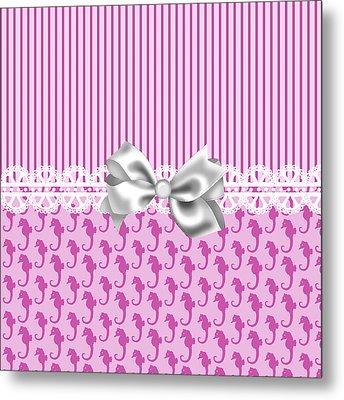 Pink Seahorses Metal Print