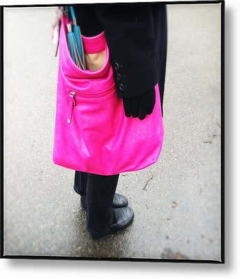 Pink Shoulder Bag Metal Print by Matthias Hauser