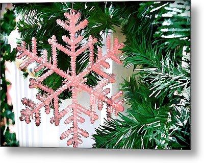 Pink Snowflake Metal Print by Audreen Gieger-Hawkins