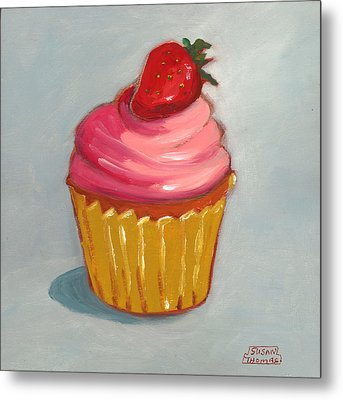 Pink Strawberry Cupcake Metal Print by Susan Thomas