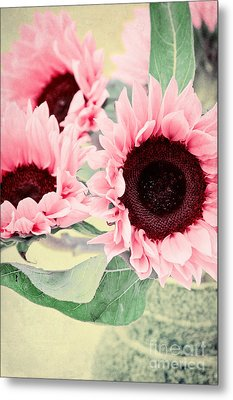 Pink Sunflowers Metal Print by Angela Doelling AD DESIGN Photo and PhotoArt