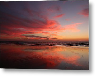 Ocean Sunset Reflected  Metal Print by Christy Pooschke