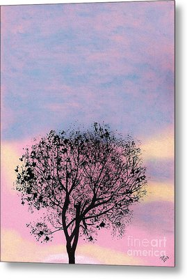Metal Print featuring the drawing Pink Sunset by D Hackett