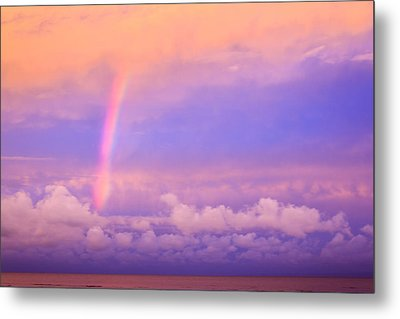 Metal Print featuring the photograph Pink Sunset Rainbow by Peta Thames