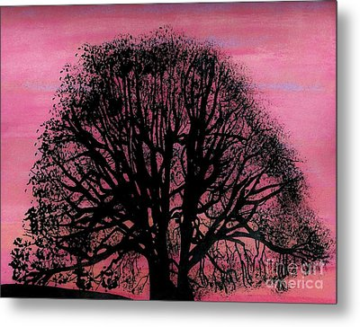 Metal Print featuring the drawing Pink Sunset Tree by D Hackett