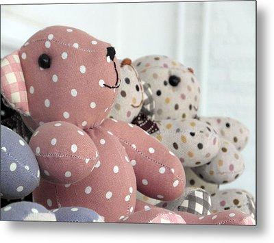Pink Teddy Bear And Friends Metal Print
