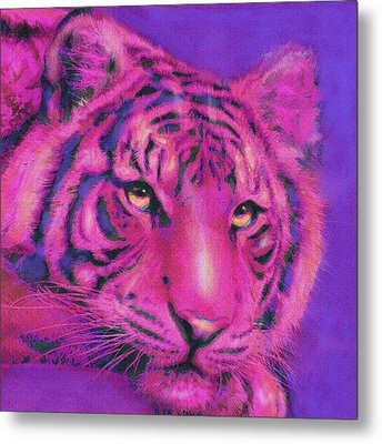 Metal Print featuring the digital art Pink Tiger by Jane Schnetlage