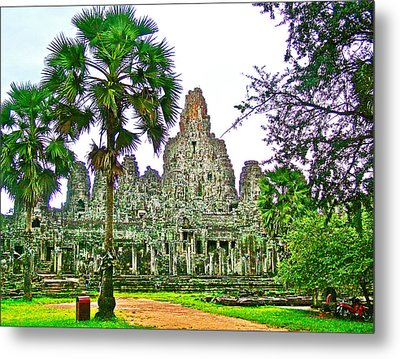 Pink Tower In The Bayon In Angkor Thom In Angkor Wat Archeological Park Near Siem Reap-cambodia Metal Print by Ruth Hager
