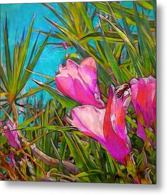Pink Tropical Flower With Honeybee - Square Metal Print