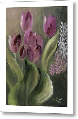 Pink Tulips Metal Print by Nancy Edwards