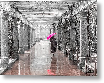 Pink Umbrella In A Storm Metal Print by Susan Cole Kelly Impressions