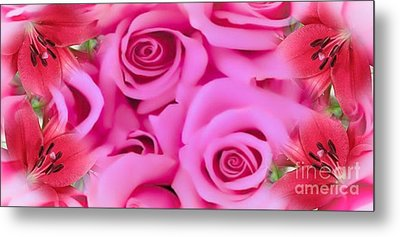 Metal Print featuring the painting Pink Upon Pink by Catherine Lott