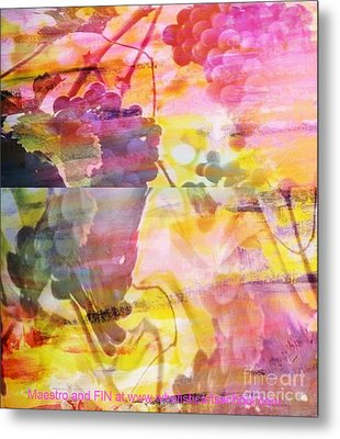 Pink Vineyard Plumps Metal Print by PainterArtist FIN