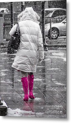 Pink Walk Metal Print by Susan Cole Kelly Impressions