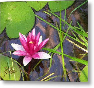 Metal Print featuring the painting Pink Water Lily by Doug Kreuger