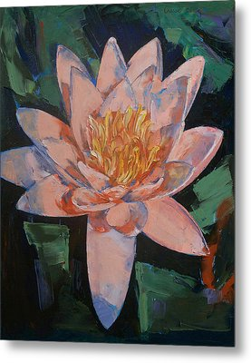 Pink Water Lily Metal Print by Michael Creese