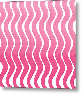 Pink Waves- Abstract Watercolor Pattern Metal Print by Linda Woods
