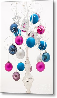 Pink White And Blue Christmas Metal Print by Anne Gilbert