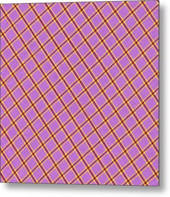 Pink Yellow Red Plaid Textile Fabric Background Metal Print