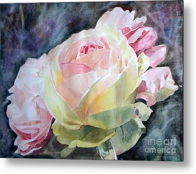 Pink Yellow Rose Angela Metal Print by Greta Corens