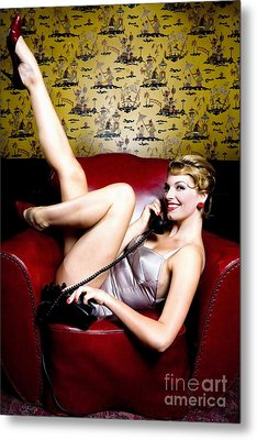 Pinup Girl On The Phone Metal Print by Diane Diederich