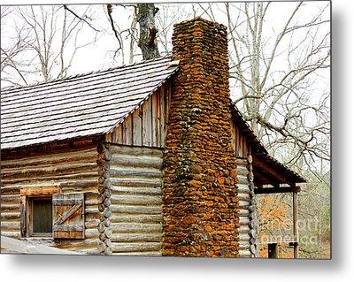 Pioneer Log Cabin Chimney Metal Print by Kathy  White