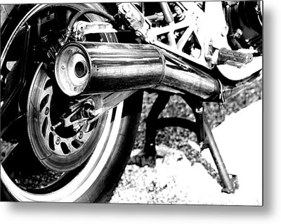 Pipe Black And White Metal Print