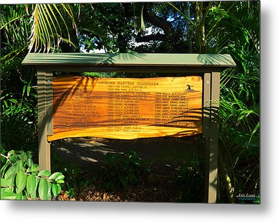Metal Print featuring the photograph Pipeline Masters Winners Plaque by Aloha Art