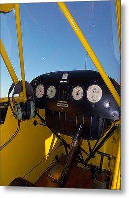 Piper Cub Dash Panel Metal Print by Chris Mercer