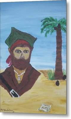 Metal Print featuring the painting Pirate Bust by Martin Blakeley