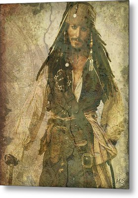 Pirate Johnny Depp - Steampunk Metal Print