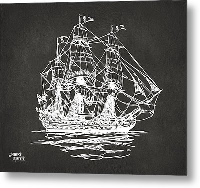 Pirate Ship Artwork - Gray Metal Print
