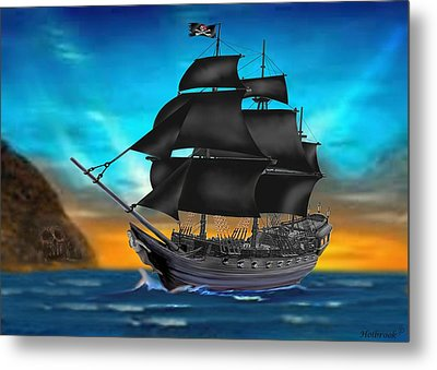 Pirate Ship At Sunset Metal Print by Glenn Holbrook