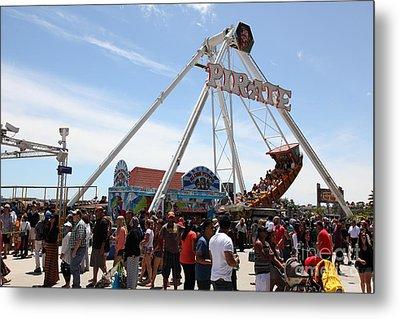 Pirate Ship At The Santa Cruz Beach Boardwalk California 5d23854 Metal Print by Wingsdomain Art and Photography